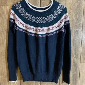 Hollister Navy Blue Fair Isle Sweater Size Small